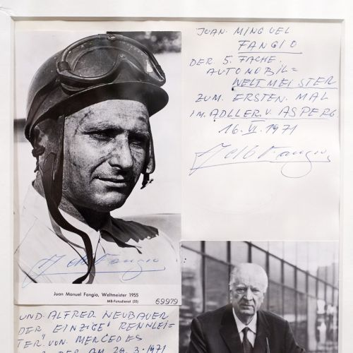 Juan Manuel Fangio and Alfred Neubauer at the Hotel Adler Asperg near Ludwigsburg